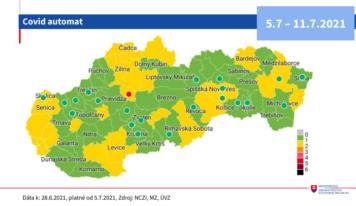 Od pondelka 5. júla bude väčšina okresov zelená. Zmena systému očkovania má byť motiváciou k očkovaniu