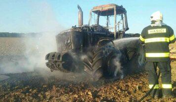 Požiar traktora